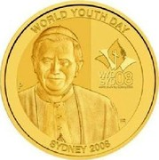 Australia 100 Dollars World Youth Day 2008 P Proof WORLD YOUTH DAY WYD SYD 08   SYDNEY 2008 coin reverse