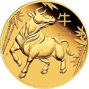 Australia 100 Dollars Year of the Ox 2021 P Proof 牛 OX 2021 P coin reverse