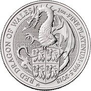 UK 100 Pounds (Red Dragon of Wales) RED DRAGON OF WALES 1OZ FINE PLATINUM 999.5 2018 JC coin reverse