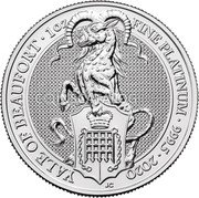 UK 100 Pounds (Yale of Beaufort) YALE OF BEAUFORT 1OZ FINE PLATINUM 999.5 2020 JC coin reverse