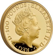 UK 100 Pounds Year of the Ox 2021 Proof, released in 2020 ELIZABETH II D G REG F D 100 POUNDS JC coin obverse