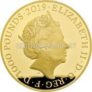 UK 1000 Pounds (200th anniversary of the birth of Queen Victoria and Prince Albert) ELIZABETH II D G REG F D 1000 POUNDS 2019 J.C coin obverse