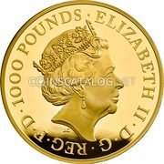 UK 1000 Pounds (Una and The Lion) ELIZABETH II D G REG FID DEF 1000 POUNDS J.C coin obverse