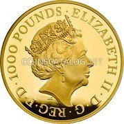 UK 1000 Pounds (Yale of Beaufort;) ELIZABETH II D G REG F D 1000 POUNDS J.C coin obverse