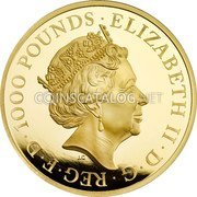 UK 1000 Pounds (Year of the Rooster) ELIZABETH II D G REG F D 1000 POUNDS J.C coin obverse