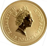 Australia 15 Dollars (Two kangaroos) ELIZABETH II AUSTRALIA 15 DOLLARS coin obverse