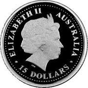 Australia 15 Dollars Waratah 2007 Proof - Colourised KM# 1161 ELIZABETH II AUSTRALIA 15 DOLLARS coin obverse