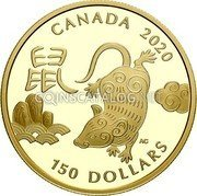 Canada 150 Dollars (Year of the Rat) CANADA 2020 150 DOLLARS coin reverse