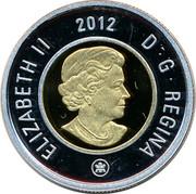Canada 2 Dollars Polar Bear Toonie 2012 Proof KM# 837 ELIZABETH II D G REGINA 2012 coin obverse