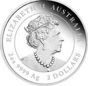 Australia 2 Dollars (Year of the Ox) ELIZABETH II AUSTRALIA JC 2 OZ 9999 AG 2 DOLLARS coin obverse