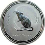 Australia 2 Dollars (Year of the Rat) 2 0 0 8 2 OZ 9999 SILVER coin reverse