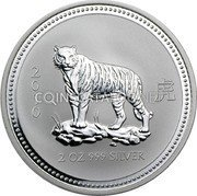 Australia 2 Dollars (Year of the Tiger) 2 虎 0 1 0 2OZ 999 Silver coin reverse