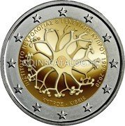 Cyprus 2 Euro (30 years of the Cyprus Institute of Neurology and Genetics) ΚΥΠΡΟΣ KIBRIS INETITOYTO NEYPOAORIAΣ & RENETIKHΣ KIMPOY 1990-2020 coin reverse