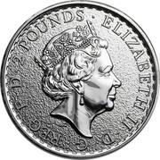 UK 2 Pounds (Britannia, Radial Sunburst Reverse) 2 POUNDS ELIZABETH II D G REG F D coin obverse
