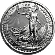 UK 2 Pounds (Britannia, Radial Sunburst Reverse) 1 OZ 999 FINE SILVER BRITANNIA NATHAN coin reverse
