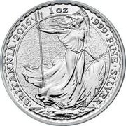 UK 2 Pounds (The Britannia) 1 OZ 999 FINE SILVER BRITANNIA NATHAN coin reverse