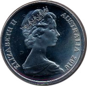 Australia 20 Cents Her Majesty The Queen 90th Birthday 2016 Frosted UNC BUNC KM# 66 ELIZABETH II AUSTRALIA 2016 coin obverse