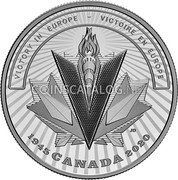 Canada 20 Dollars (75th Anniversary of the end of the Second World War) VICTORY IN EUROPE - VICTOIRE EN EUROPE 1945 CANADA 2020 coin reverse