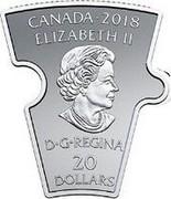 Canada 20 Dollars Canadian History Puzzle 1 2018 Proof CANADA 2018 ELIZABETH II D G REGINA 20 DOLLARS coin obverse