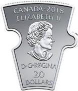 Canada 20 Dollars Canadian History Puzzle 9 2018 Proof CANADA 2018 ELIZABETH II D G REGINA 20 DOLLARS coin obverse