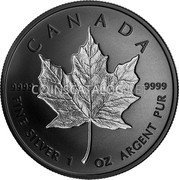 Canada 20 Dollars (Maple Leaf) CANADA 9999 9999 FINE SILVER 1 OZ ARGENT PUR coin reverse