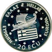 Greece 20 ECU Alexander the Great 1994 Proof X# 39 20 ECU EUROPA ΕΛΛΑΣ HELLAS ΕΨΡΩΠΗ coin obverse