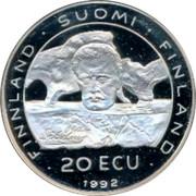 Finland 20 ECU CSCE KFZE Conference 20th Anniversary 1992 Proof FINLAND SUOMI FINLAND 20 ECU 1992 coin obverse