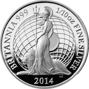 UK 20 Pence Britannia 2014 Proof BRITANNIA 999 1/10 OZ FINE SILVER 2014 coin reverse
