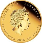 Australia 200 Dollars 65th Anniversary Coronation 2018 P Proof ELIZABETH II AUSTRALIA 2 OZ 9999 GOLD 2018 200 DOLLARS coin obverse