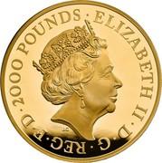 UK 2000 Pounds Una and The Lion 2019 Proof ELIZABETH II D G REG FID DEF 2000 POUNDS J.C coin obverse