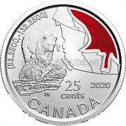 Canada 25 Cents (Canadian bear) (53.2500, -132.2500) 2020 25 CENTS CANADA coin reverse