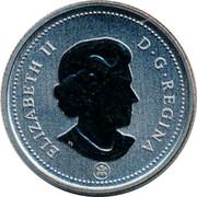 Canada 25 Cents (Caribou) KM# 493 ELIZABETH II D G REGINA coin obverse