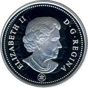 Canada 25 Cents (Caribou) KM# 493a ELIZABETH II D G REGINA coin obverse