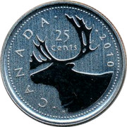 Canada 25 Cents (Caribou) KM# 493 CANADA 25 CENTS H coin reverse