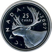 Canada 25 Cents (Caribou) KM# 493a CANADA 2007 25 CENTS H coin reverse