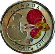 Canada 25 Cents (Cat) CANADA 25 CENTS 2017 coin reverse