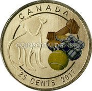 Canada 25 Cents (Dog) CANADA 25 CENTS 2017 coin reverse