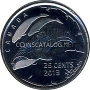 Canada 25 Cents Life in the North. Whales 2013 UNC KM# A1547 CANADA 25 CENTS 2013 coin reverse