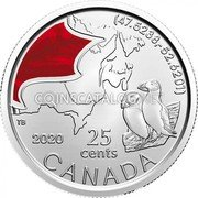 Canada 25 Cents (The Atlantic puffin) (47.5238, -52.6201) 2020 25 CENTS CANADA coin reverse
