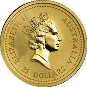 Australia 25 Dollars Kangaroo jumping 1997 UNC KM# 340 ELIZABETH II AUSTRALIA 25 DOLLARS coin obverse