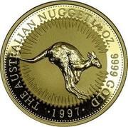 Australia 25 Dollars Kangaroo jumping 1997 UNC KM# 340 THE AUSTRALIAN NUGGET 1/4 OZ. 9999 GOLD 1997 coin reverse