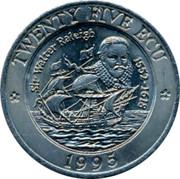 UK 25 ECU 1995 UNC British Token Coins TWENTY FIVE ECU SIR WALTER RALEIGH 1552-1618 1995 coin obverse