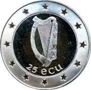 Ireland 25 ECU Cat 1995 Proof X# 38 25 ECU coin obverse