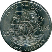 UK 25 Euro Lord Nelson 1996 UNC LORD NELSON 25 EURO H.M.S.VICTORY coin reverse