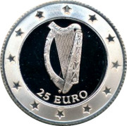 Ireland 25 Euro Squirrel eating nuts 1996 25 EURO coin reverse