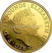 UK 25 Pounds Britannia 2014 ELIZABETH II D G REG F D 25 POUNDS coin obverse