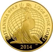 UK 25 Pounds Britannia 2014 BRITANNIA 999.9 1/2 OZ FINE GOLD 2014 coin reverse