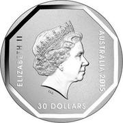 Australia 30 Dollars Road Sign Emu 2015 ELIZABETH II AUSTRALIA 2015 30 DOLLARS coin obverse