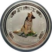 Australia 30 Dollars Year of the Dog Colored 2006 2 0 0 6 1 KILO 999 SILVER coin reverse