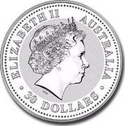 Australia 30 Dollars Year of the Pig Colorized 2007 ELIZABETH II AUSTRALIA 30 DOLLARS IRB coin obverse